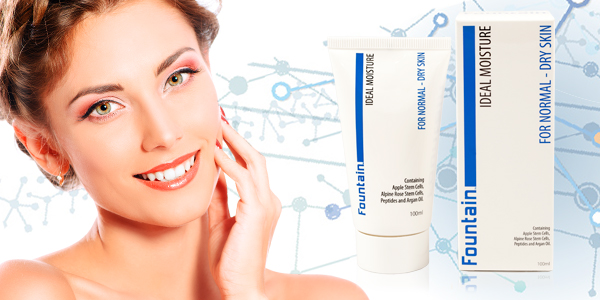 Banner with head and shoulders hot of woman and Fountain Ideal Moisture product and packaging