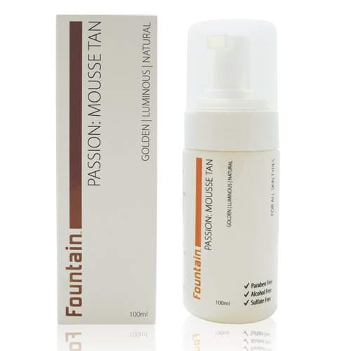Fountain Passion Mousse Tan, a self tanning lotion for a natural, golden tan without streaking